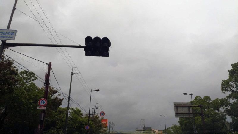 突然の停電による信号機の停止